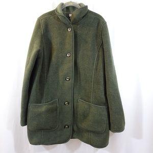 LL BEAN Forest Green Fleece Button Jacket Size L